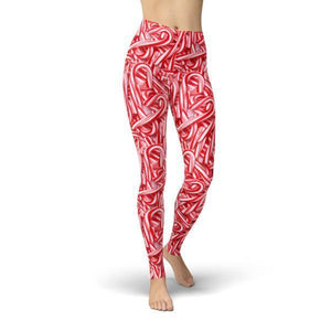 Candy Canes Leggings Leggings Orange Poppy