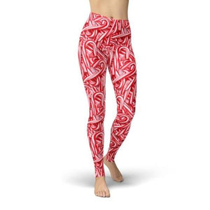 Candy Canes Leggings Leggings Orange Poppy 2XL Red