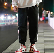 Load image into Gallery viewer, Tide Brand Japanese Men's Trousers Street Loose Striped Letters Beam Feet Casual Pants Male