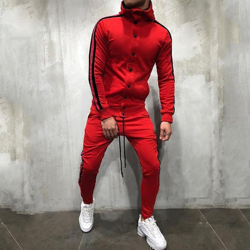 Hooded Fashion Hip Hop Color Matching Suit
