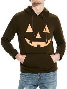 Kangaroo Pocket Halloween Printed Men Hoodie