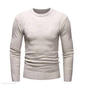 Casual Mens Round Collar Plain Thin Sweater