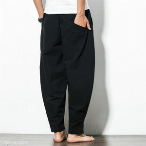 Fashion Casual Sport Cotton Loose Plain Harem Long Pants