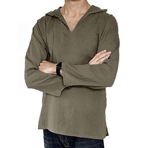 Casual V Collar Cotton And Linen Thin Plain Shirt