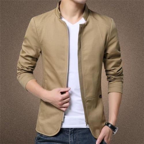 Casual Slim Plain Zipper Long Sleeve Jacket