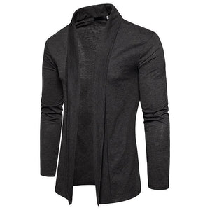 Mens Fashion Plain Slim Cloak Coat