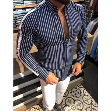 Load image into Gallery viewer, Mens Loose Cotton Blend Striped Shirt