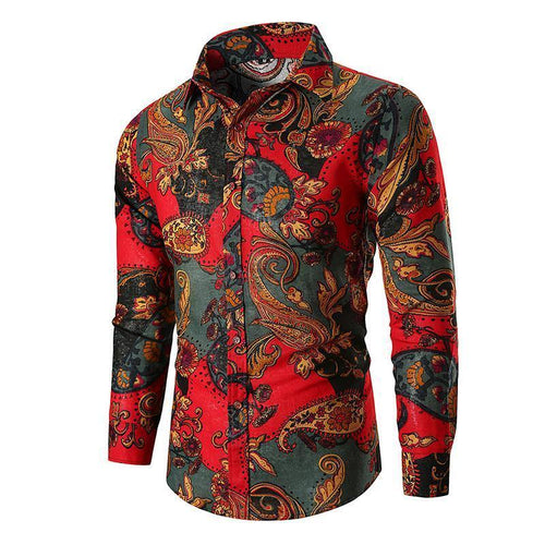Fashion Winter Lapel Button Printed Shirt