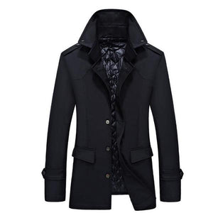 Casual Fashion Youth Slim Plain Button Long Sleeve Men Outerwear