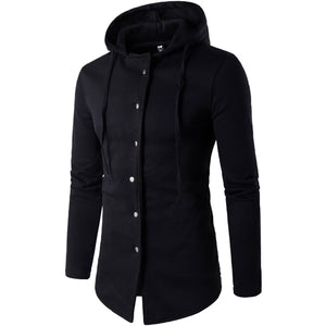 Fashion Slim Button Plain Packet Long Windbreaker Coat