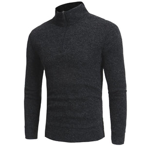Fashion High Collar Slim Fit Plain Zipper Sweater