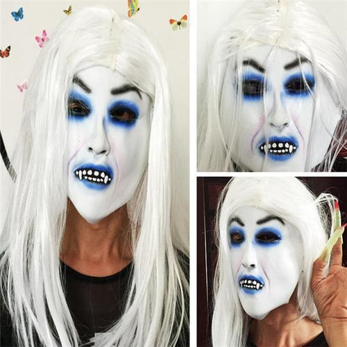 Halloween Terrible White Hair Ghost Mask