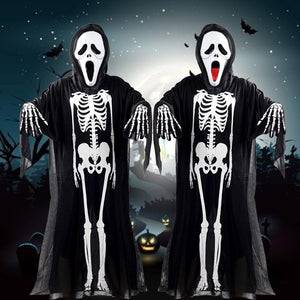 Halloween Human Skeleton Printed Cloth Mask Gloves Suit