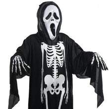 Load image into Gallery viewer, Halloween Human Skeleton Printed Cloth Mask Gloves Suit