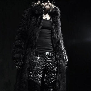 Black And White Men's Long Fur Coat