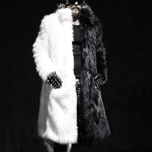 Load image into Gallery viewer, Black And White Men's Long Fur Coat