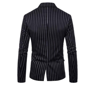 Gentle Formal Stylish Slim Strip Button V Collar Long Sleeve Men Suit Outerwear