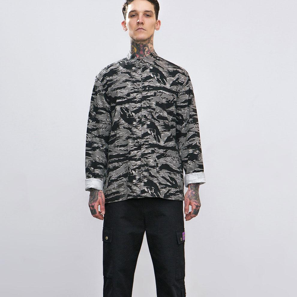 Fashion Lapel Collar Loose Camouflage Loose Shirt