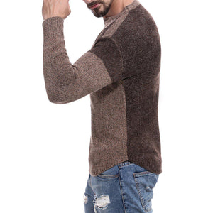 Men Patchwork Crew Neck Weave Sweater