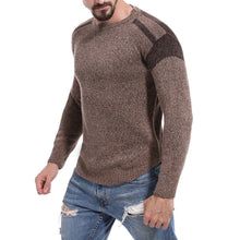 Load image into Gallery viewer, Men Patchwork Crew Neck Weave Sweater