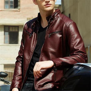 Stylish Casual Slim Plain Long Sleeve Leather Jacket Outerwear
