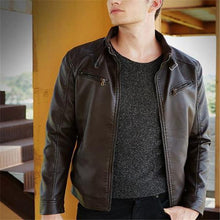 Load image into Gallery viewer, Stylish Casual Slim Plain Long Sleeve Leather Jacket Outerwear