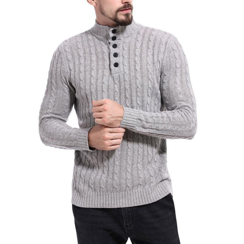 Men's Casual High Collar Jacquard Sweater