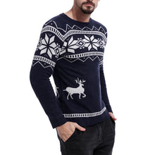 Load image into Gallery viewer, Men's Color Matching Deer Jacquard Round Neck Sweater