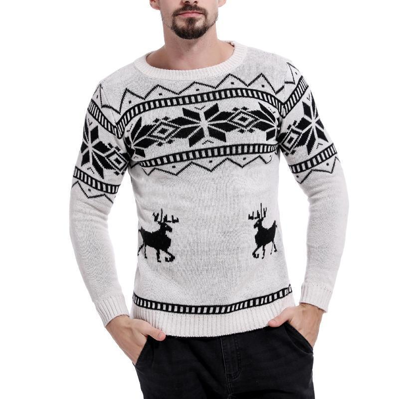 Men's Color Matching Deer Jacquard Round Neck Sweater