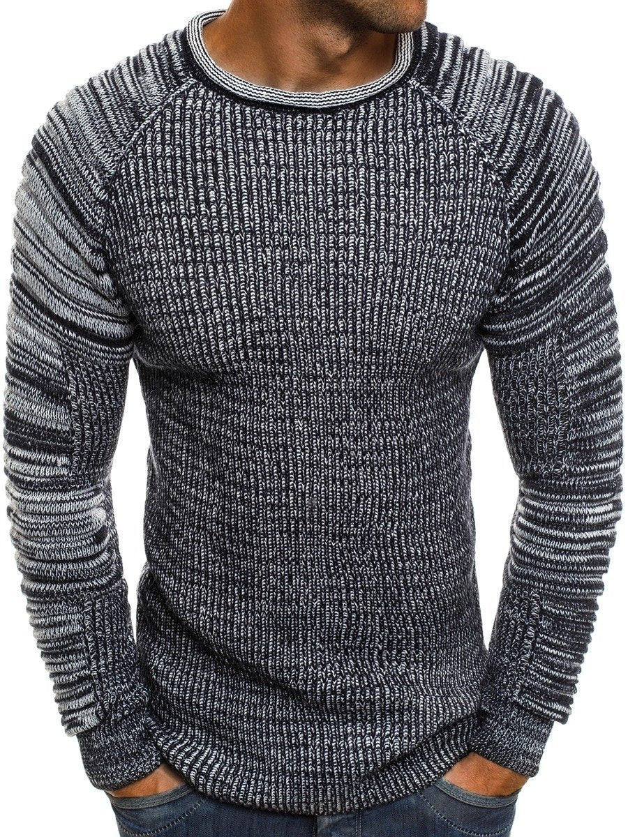 Casual Round Collar Plain Fold Knit Sweater