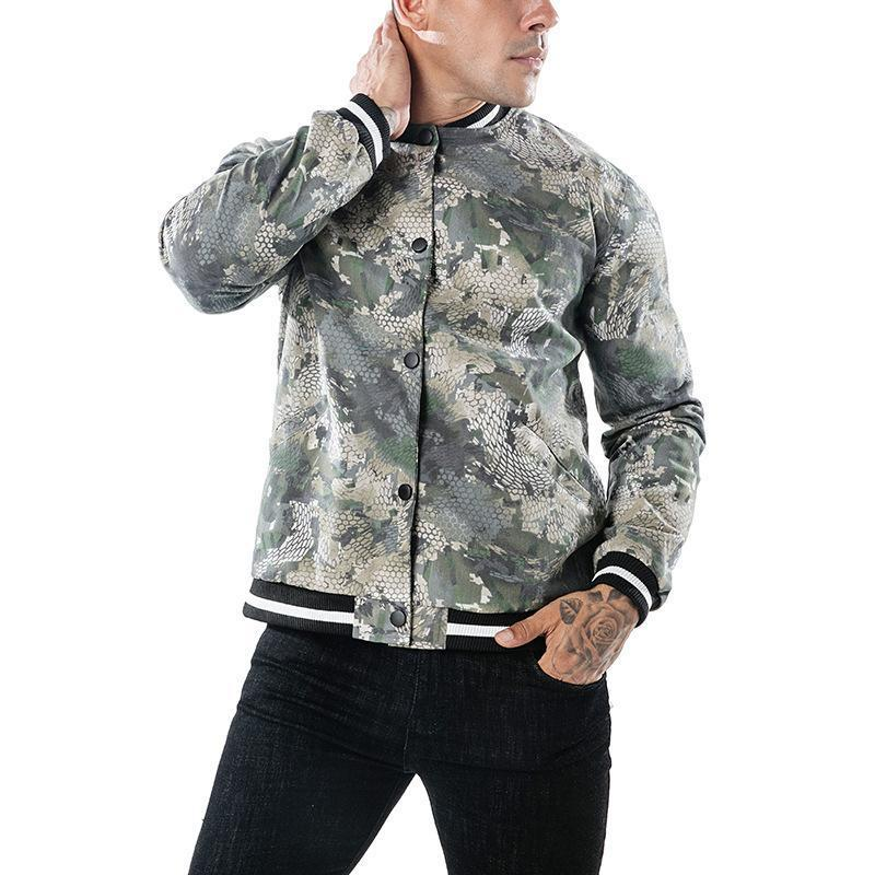 Fashion Lapel Collar Camouflage Printed Jacket Coat