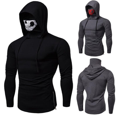 Men's Plain Skull Mask Printed Hoodie