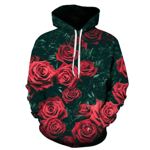 Fashion Rose Printed Hoodie With Hat
