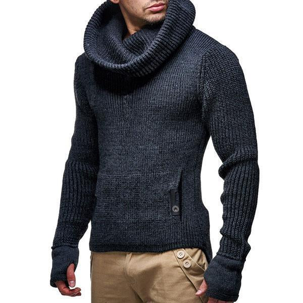 Turtleneck Sweater  Solid Color  Pullover