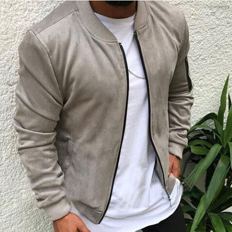 Casual Lapel Collar Plain Zipper Jacket