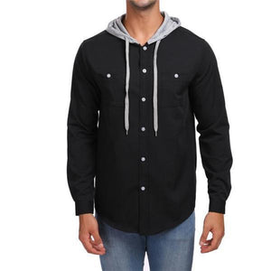 Fashion Casual Loose Solid Color Button Long Sleeve Men Hoodie