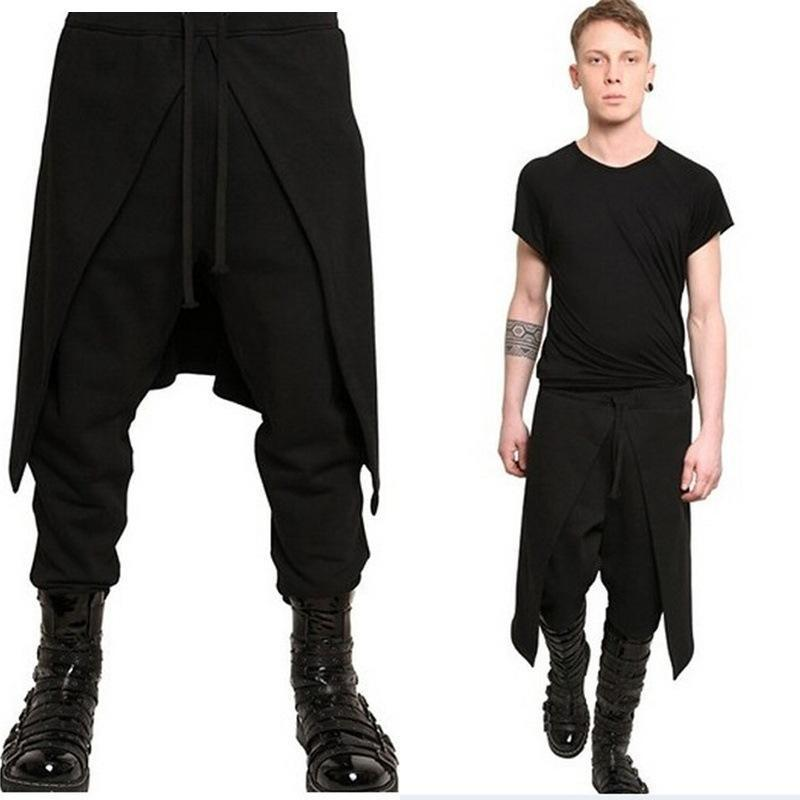 Mens Stitching Loose Harem Pants
