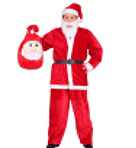 Halloween Red Plain Belt Santa Claus Suit