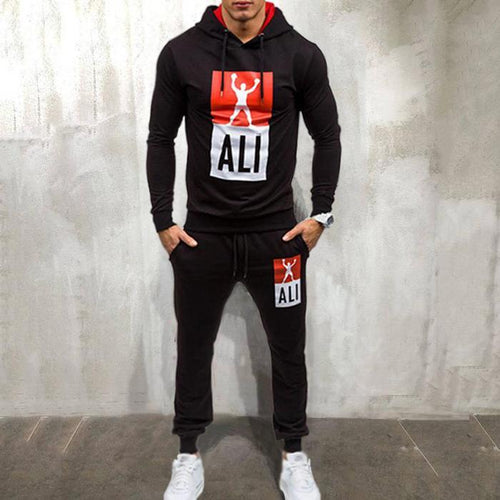 Men's 2019 Spring New Men's Sports Suit Hooded Set