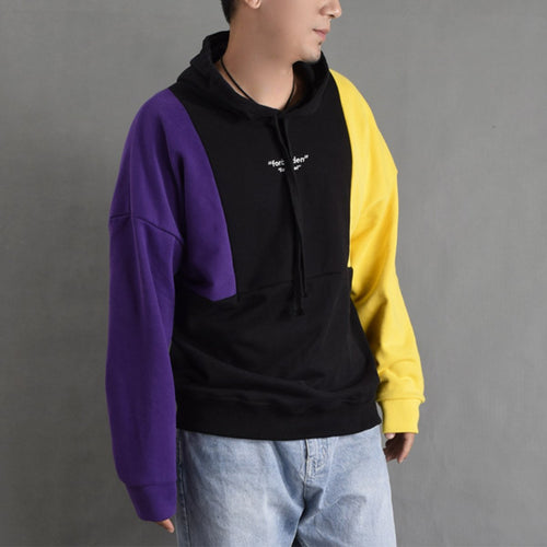Casual High Collar Plain Color Block Loose Hoodie
