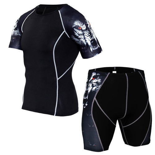 Summer Round Collar Tihgt Fast Drying Bodybuilding Suit