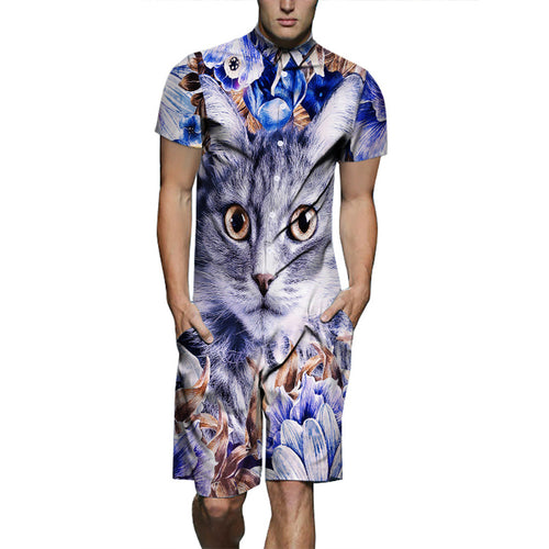 Men's Fashion Cat Print Jumpsuit