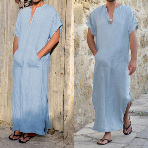 Men's Solid Color Cotton Pocket Short-Sleeved Loose Kaftan