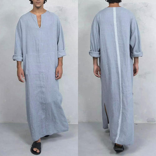 Loose Cotton Turkish Style Pocket Long-Sleeved Robe Long T-Shirt