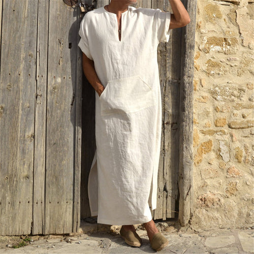 Casual Loose Pocket Middle Eastern Men's Short Sleeve Robes