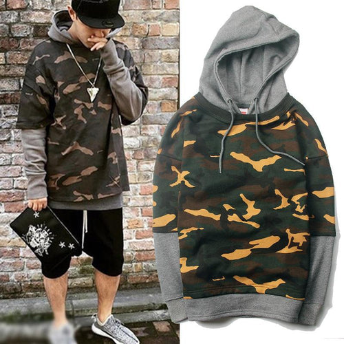Hooded Camouflage Fake Two-Piece Sweater Men's Hooded Color Matching Sweater Hoodie