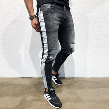 Load image into Gallery viewer, Fashion new black slim printed jeans