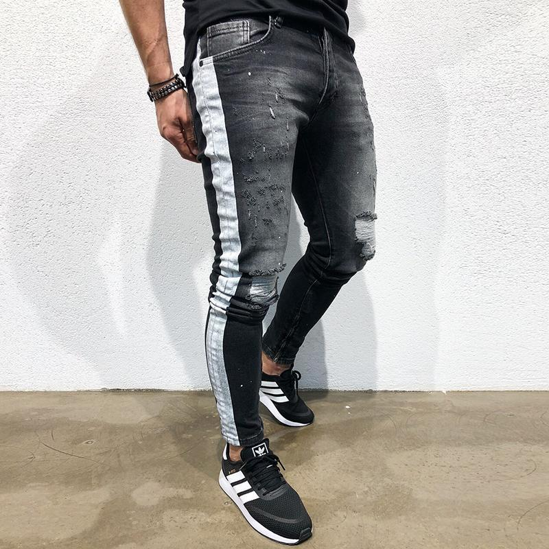 Fashion new black slim printed jeans