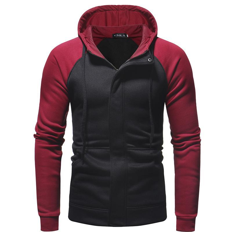 Men's casual slim zipper cardigan hooded sweater coat