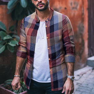 Fashion Mens Casual Long-Sleeved Plaid Shirt